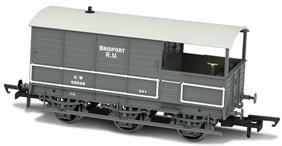 Oxford Rail OR76TOA002 OO Gauge GWR 6 Wheel Toad Goods Trains Brake Van Plated Sides GWR Goods Grey 1930s Small Lettering Bridport RU