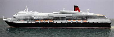 A 1/1250 scale metal model of Queen Victoria, Cunard's cruise ship, 2010.Length 230mm, width 25mm height, 50mm approx