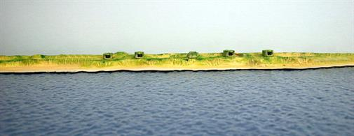 "A 1/1250 scale fully assembled and painted model of a section of the Atlantic Wall based on the c17cm gun emplacements just to the south of the Dutch port of Ijmuiden. The guns came from German pre-dreadnought battleships and were mounted inside standard concrete emplacements and became operational early in 1945. This Atlantic Wall set includes 2x High Dunes resin modules, each 10"" (25cm) long and a resin module, 10"" (25cm) long with a director control tower, 4 gun emplacements and 2 magazines."