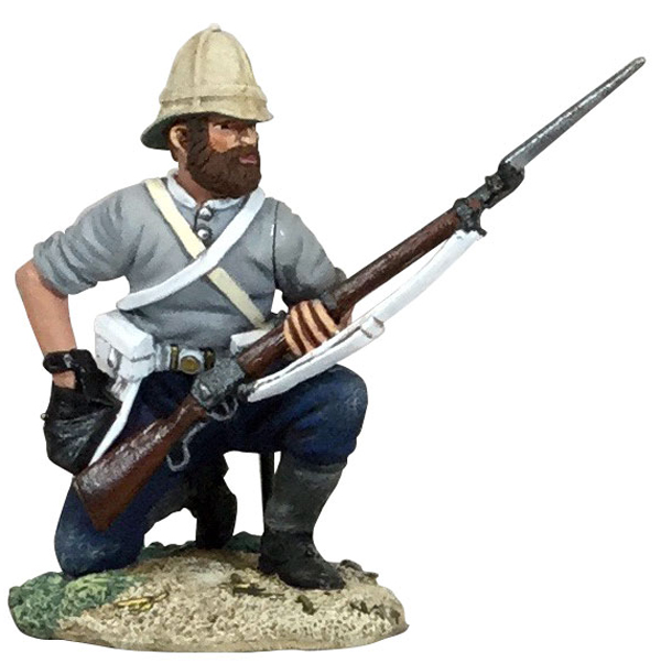 WBritain 1/30 British 24th Regiment of Foot Kneeling, Loading in Shirtsleeves Figure 20176<br>W Britain British 24th Regiment of Foot in shirtsleeves order kneeling, loading rifle.