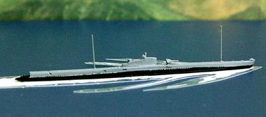 A 1/1250 scale metal model of Presee, a French Redoutable-class first-class submarine in 1932 when she carried a two-tone grey paint scheme. Persee is also available from Antics in camouflage green. Persee was sunk in late 1940 during Allied attacks on French colonial posessions.