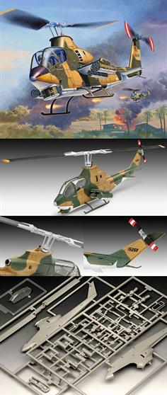 Revell 1/72 Bell AH-1G Cobra 04954Length 137mmNumber of Parts 52Rotor Diameter 135mmGlue and paints are required