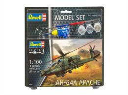 Revell 1/100 AH-64A Apache Gift Set 64985Length 146mm	Number of Parts 56 	Rotor Diameter 144mmComes with glue and paints to assemble and complete the model.