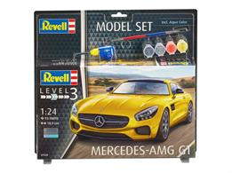 Revell 1/24 Mercedes AMG GT Model Set 67028Length 189mm	Number of Parts 93Comes with glue and paints to assemble and complete the model.