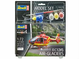 Revell 1/72 EC 135 Air Glaciers Helicopter Model Set 64986Length 143mm	Number of Parts 75		Rotor Diameter 140mmComes with glue and paints to assemble and complete the model
