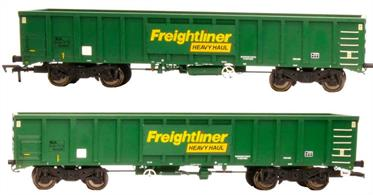 Detailed models of the Freightliner Heavy Haul MJA general purpose bogie box open wagons which are suitable for a wide range of aggregate loads from road stone through ballast to rock armour.