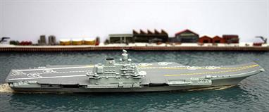 A  1/1250 scale fully finished and painted metal model of Admiral Flota Soveckogo Sojusa Kuznecov, the only Russian aircraft carrier still in service. Currently serving off Syria following a voyage from northern waters through the English Channel, the ship may well be on her last commission.
