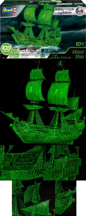 Revell 1/150 Ghost Ship Easy-Click 05435Number of parts 109Model Length mm. Height mm.Glue and paints are required