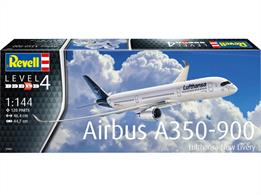Revell 03881 1/144th Airbus A350-900 Lufthansa New Livery Airplane KitNumber of Parts 120   Length 464mm   Wingspan 447mm
