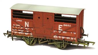 Oxford Rail OR76CAT003W OO Cattle Wagon LNER Lime Washed 196152A detailed model of the LNER design cattle wagon painted in LNER goods bauxite brown livery.The LNER was slow to adopt steel underframe, so while the design of the cattle wagon followed the style used by the other four major railway companies the LNER examples continued to use wood underframes. This model reflects these details, along with the solid three-part doors with hand access holes, producing an accurate OO gauge replica of the LNER cattle wagon for the first time.