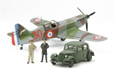 "Tamiya 61109 1/48 Scale Dewoitine D520 ""French Aces"" with Citroen Staff Car"
