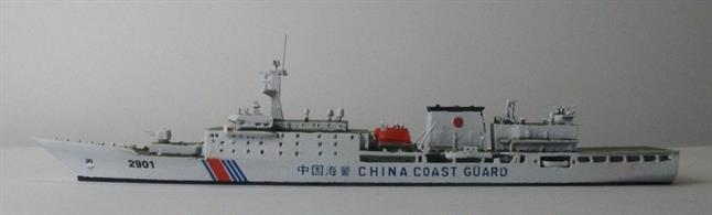 So far the largest ship ever built for a Coast Guard (next to the sister ship CCG 3901).At 164.59m long, 21.6m wide and 12,000t, these ships are larger than American onesDestroyer. Built in Shanghai's Jiangnan Shipyard 2015 / 2016. Armed with a 76mm-Cannon, two machine guns, as well as two AA guns. Speed: 25 kn.
