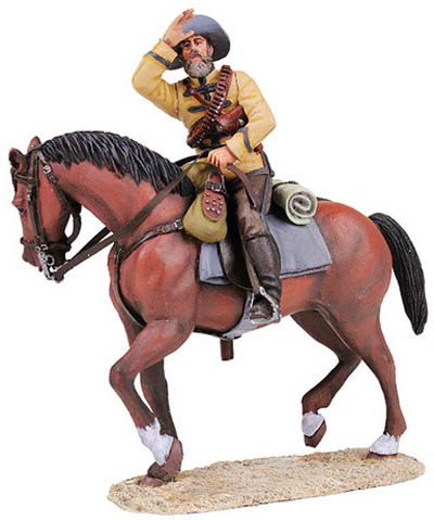 W Britain Mounted Frontier Light Horse Soldier from Zulu Wars<p>The Frontier Light Horse, a mounted unit of 200 volunteers, was raised at King William's Town, Eastern Cape Colony in 1877 by Lieutenant Frederick Carrington or the then Captain Buller. It is often referred to as the Cape Frontier Light Horse</p><p>2 Piece Set</p><p>1/30 Scale</p><p>Matt Finish</p>
