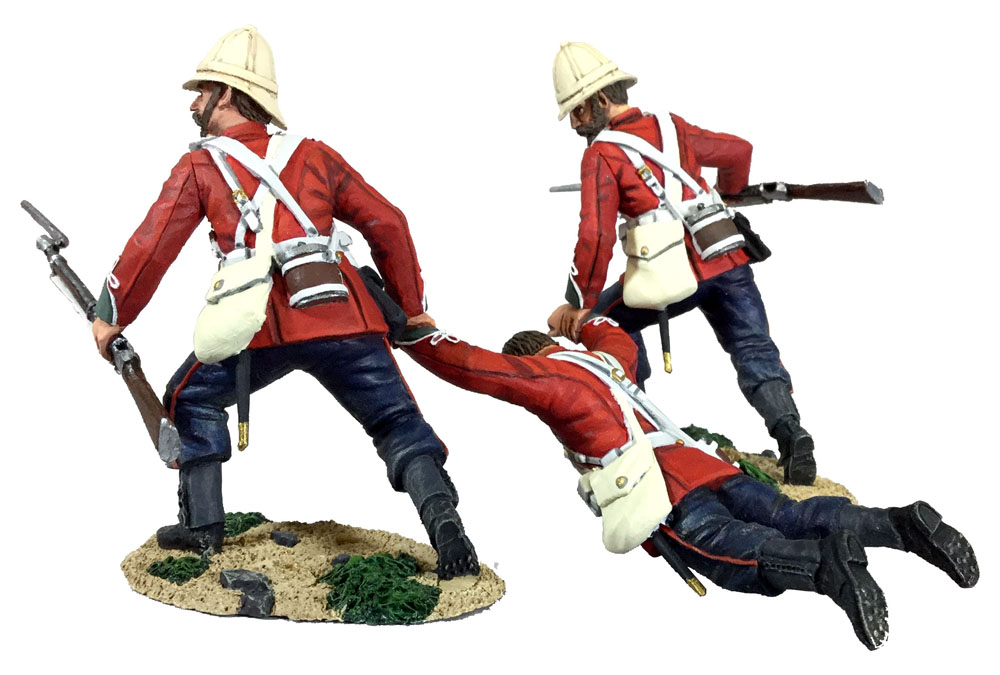 WBritain 1/30 Rescue British 24th Foot Dragging Comrade No1 3 Piece Set from Zulu Wars 20177