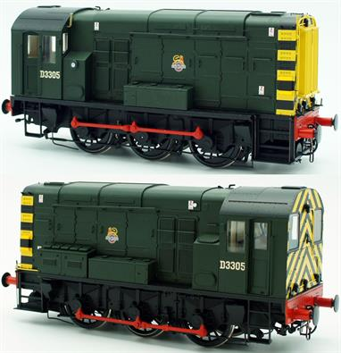 The Dapol class 08 is an excellent, smooth running O gauge model of the BR standard 350bhp diesel shunting locomotives. This model is finished as engine D3305 in the British Railways green livery with wasp striped ends and early emblem, representing an early repaint to diesel green in the late 1950s.