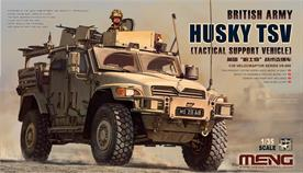 This MENG VS-009 British Army Husky TSV (Tactical Support Vehicle) plastic model is 183mm long, 81mm wide and 85mm high. This kit has a total of 320 parts. It features perfectly reproduced interiors of the crew compartment. Doors can be built open or closed. The roof weapon station is rotatable. Front wheels are steerable. Like other MENG kits, it also has clear lights and find PE parts