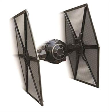 First Order TIE Fighter Starship These beautifully crafted, die-cast  ships will appear in the new Star Wars movie coming out this December. Star Wars: The Force Awakens is the long-anticipated new installment in the Star Wars saga, directed by J.J. Abrams. The story is set nearly thirty years afterReturn of the Jedi, during a dangerous time of conflict between the oppressive First Order regime and the heroic Resistance.The First Order TIE Fighter is reminiscent of the older Imperial version, but features an intimidating new black exterior and red running lights. The upgraded design paired with its infamous speed and maneuverability ensure the TIE Fighter's reputation as a deadly menace throughout the galaxy.