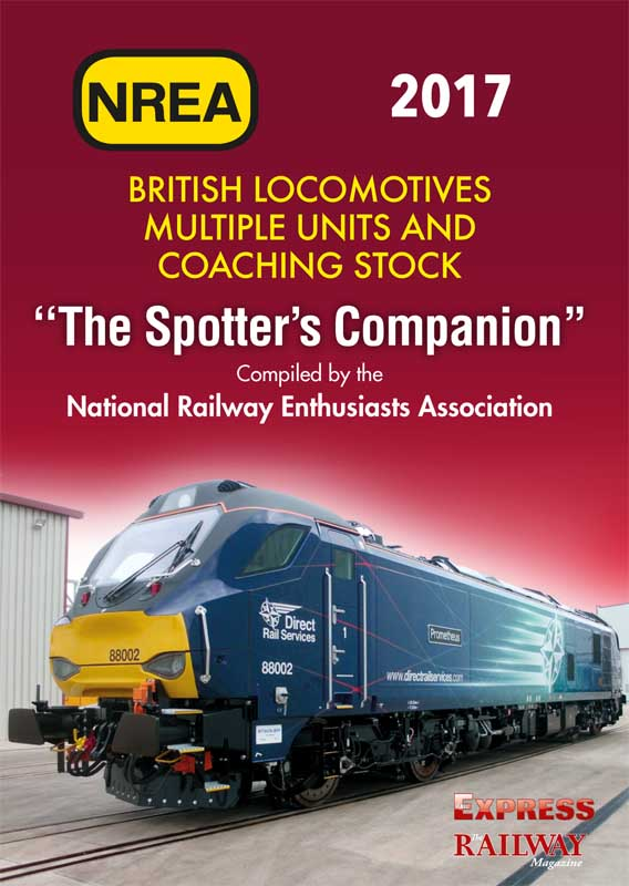 <b>NREA Spotters Companion 2017 39th edition</b><br><b>Recommended as a travelling companion and record book.</b><br>The National Railway Enthusiasts Association have been publishing a spotters companion guide to British mainline locomotives, coaches and unit trains for many years.