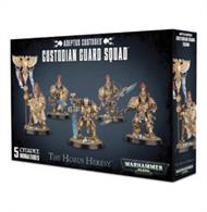 This multi-part plastic kit contains the components necessary to assemble a set of 5 Adeptus Custodes Custodian Guard, armed with either guardian spears or sentinel blades and storm shields.  Supplied with 5 Citadel 40mm Round bases.