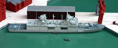A 1/1250 scale waterline model of Sachsen-Anhalt, the latest Type 125 frigate to enter service with the German Navy. This Albatros model is fully assembled and painted with the exception of models of the two Rhibs, which are included to be displayed either on board or alongside the ship as the customer prefers.