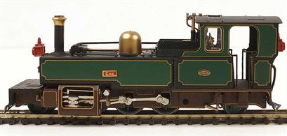 A detailed OO9 narrow gauge model of Lynton and Barnstaple Railway Manning Wardle 2-6-2 tank locomotive EXE finished in the L&B lines' dark green livery