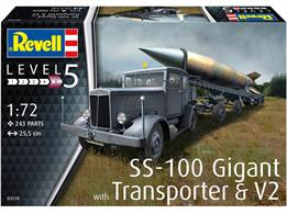 Revell 03310 1/72nd SS-100 Gigant V2 Rocket & Transporter Plastic KitNumber of Parts 119   Length 111mm