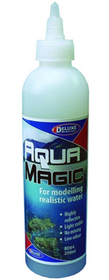 Deluxe Materials Aqua Magic 250ml for modelling Realistic Water 46131Aqua Magic is a 1-part solution to the scale modelling of water effects such as rivers, canals, lakes, ponds, puddles & mud.