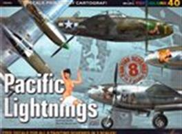 Pacific Lightnings Part 1A modellers archive of photographs, specification, colour profiles and complete with sheets of decals.Author: Andrzej Sadio & Maciej Goralczyk.Publisher: Kagero.Paperback. 18pp. 27cm by 20cm.