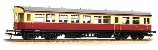 Dimensions - Length 275mm.A detailed model of the GWR style auto trailer coaches built by British Railways for use with class 14xx, 64xx and 4575 locomotives in push-pull trains. These coaches were constructed on 63ft underframes and given GWR series diagram numbers A38 and A40. The body followed the traditional GWR design with a three-window bowed front end, providing the driver with a good view of the line ahead when the coach was being propelled. Body construction was updated in style, with more modern smooth sides.The models' detailed underframe includes suspended steps and representation of front end cab control apparatus along with a host of features such as bogies fitted with all axle phosphor bronze (low friction) bearings. The bodyshell features a detailed passenger interior and roof detail includes individually fitted GWR style shell vents. To cap off these great models, we have incorporated prototypical length buffers and buffer beam detailing accessories.Model painted in the BR crimson and cream livery, usually reserved for express passenger trains but often applied to these auto trailers at partisan GWR workshops, despite orders to desist from the Railway Executive! Era 4 1948-1956.