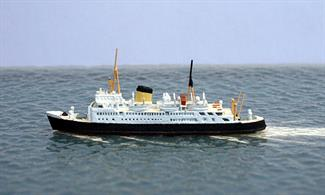 A 1/1250 scale metal model of Normannia, a cross-Channel ferry. The model is assembled and fully painted in British Rail livery of the period.