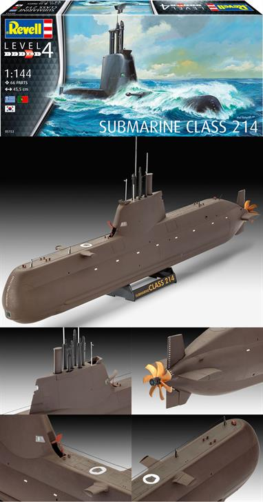 Revell 1/144 Submarine Class 214 Kit 05153Glue and paints are required