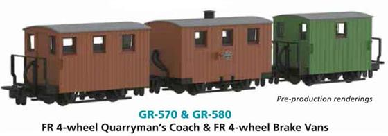 New model announced 2019. Price to be advised.The Festiniog Railway ordered a small fleet of very basic 4-wheel coaches to provide accommodation for quarry workers travelling to and from the slate quarries. Similar quarrymens, miners or workmens coaches were used by other narrow gauge lines.
