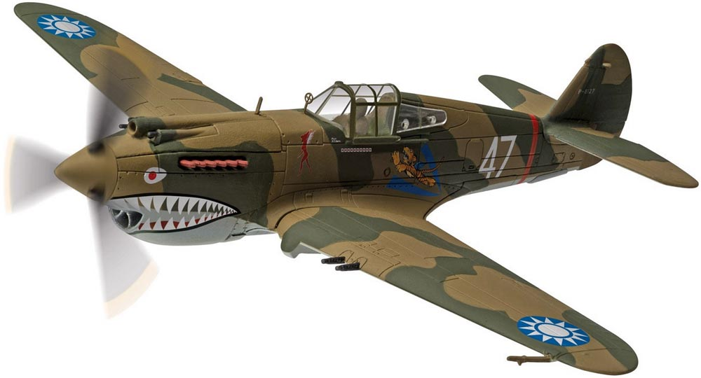 "Corgi AA28104 1/72 Scale Curtiss Hawk 81-A-2 P8127 ""White 47"", Robert R.T Smith, 3rd Squadron American Volunteer  Group, Kunming, China, June 1942<br>Wingspan 157mm"