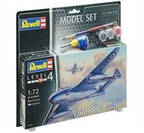 Revell 1/72 Vampire F Mk.3 Starter Set 03934Length 133mmNumber of Parts 58Wingspan 168mmIncludes Glue and paints.