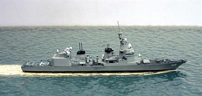 A 1/1250 scale metal waterline model of Suzutsuki, an anti-submarine frigate of the Japanese Maritime Defence Force from 2014 onwards.