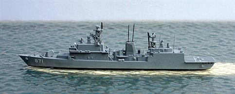 A 1/1250 scale metal model of a ROKS KDX 1 frigate, Gwanggaeto the Great, DDH-971. The three ships of this class (DDH-971-3) werethe first destroyers designed and built in South Korea. Gwanggaeto was the name ship of the class and the first to be commissioned in 1998. All 3 ships are in active service today.