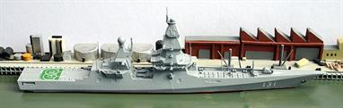 A 1/1250 scale metal model of Shkval, a proposed Russian very large, multi-purpose, nuclear powered, destroyer whose completion date has been put back to 2025. This ship is also known as a Project 23560 or Lider-class destroyer.