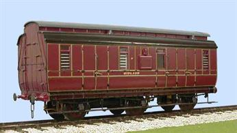 Now supplied with pre-painted and lined sides in Midland Railway crimson lake livery this kit builds a detailed model of a MR 6-wheel full brake coach to diagram 530. These coaches were used for passenger luggage, parcels and mails, with many surviving long after similar passenger stock as the small vehicles were useful to provide a direct service between cities and major towns without needing to reload the packages.Supplied with metal wheels, screw couplings and sprung buffers