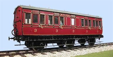 This kit builds a detailed model of the Midland Railway design 6-wheel full-third class coach with lavatory  to diagram 494. These coaches were steadily downgraded from being the express stock of the developing Midland to the local and branch line service by the 1920s.'Lavatory Stock' with toilets fitted in between the compartments was introduced for long-distance trains before the introduction of corridor stock. This ensures that some passengers travelling for many hours on the train had access to the lavatory, however often one had to chose the right compartment!Supplied with metal wheels, screw couplings and sprung buffers