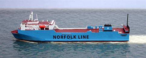 A 1/1250 scale, metal waterline model of Maersk Exporter of 1996-2010. When Norfolk Line was taken over by DFDS, she was re-named Scotia Seaways but became Stena Scotia for Stena Line in 2012.