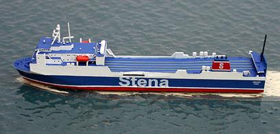 A 1/1250 scale metal waterline model of Stena Scotia, a Ro-Ro ferry which operates between Heysham and Belfast. The model is fully assembled and painted. Stena Scotia was built in Japan in 1996 as Maersk Exporter. In 2010, she was re-named Scotia Seaways after Norfolk Line was taken over by DFDS and in 2012 she became Stena Scotia in 2012. She can only accommodate 12 passengers and so is essentially for freight only.