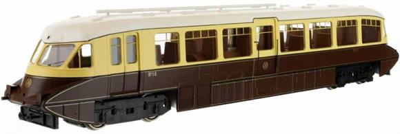 Second release of Dapol's superb GWR railcar model. This model is finished in the 1930s chocolate and cream livery with shirtbutton monogram logos on the front end and side door. This model has the bogie side valances removed.Car 10 was one of the first production design of railcars built by the Gloucester Railway Carriage and Wagon company in 1936 with the smoothly rounded body end shape and piston plunger buffers.Note - Scale model, suitable for radius 2 curves and larger.