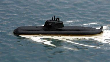A 1/1250 scale, metal, waterline model of U35, a type 212A batch 2 submarine in the German navy in 2016.