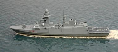 "A 1/1250 scale metal waterline model of Virginio Fasan, F591, an Italian frigate of 2014. This is a new model this year for ""1250 Ships"" in the USA but cast & painted in Germany by expert model maker, Rhenania."