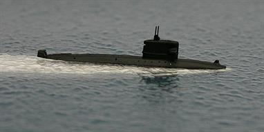 A 1/1250 scale metal waterline model of Walrus, a Dutch diesel-electric submarine from 1992 onwards.