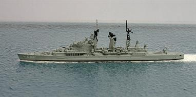A 1/1250 scale metal waterline model of De Zeven Provincien, C802, a Dutch missile cruiser in 1966. The after guns were removed from the all gun cruiser and a twin missile launcher was fitted instead.
