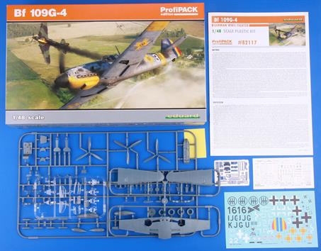 Eduard 82117 1/48 Scale Messerschmitt Bf-109G4 German WW2 FighterThe kit containes fine plastic mouldings, etched metal items, clear styrene parts and decals for 5 variants. A painting mask supplied with the kit aids finishing.  Assembly instructions are included.Glue and paints are required t