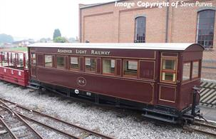 A detailed model of the Gloucester RCW coaches built for the narrow gauge Ashover Light Railway using parts and bogies from WW1 military railway wagons.Model finished in Ashover Railway crimson livery.