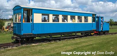 The Ashover Railway coaches survived to the end of services on that line and were purchased for further use on the tourist attraction Lincolnshire Coast Light Railway.Model finished in Lincolnshire Coast Light Railway blue and cream livery.