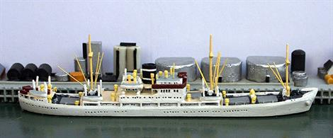 A 1/1250 waterline ship model of Willemstad as she was in the 1960s with a grey hull.
